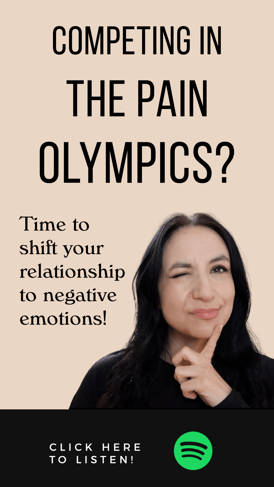 girl looking out window with text The Manifest Podcast Episode 37: Stop Competing In the Pain Olympics