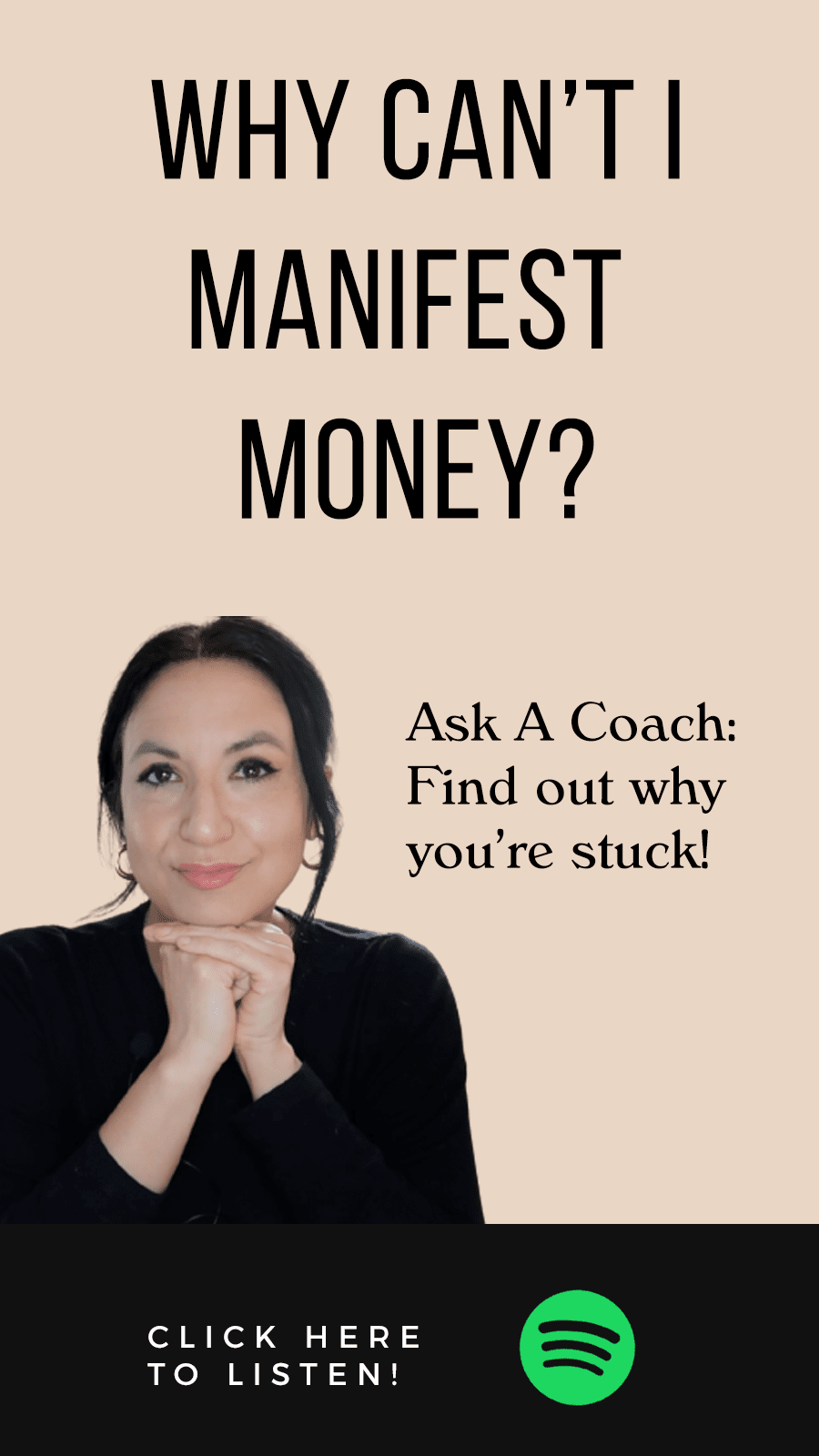 Jenn Stevens with text Episode 43 | Ask A Coach: Why Can't I Manifest Money?