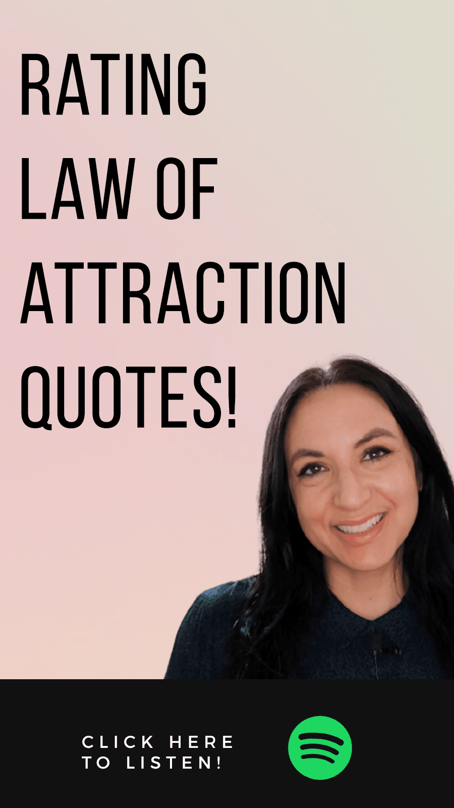 Jenn Stevens with text Episode 45: Rating Law of Attraction Quotes