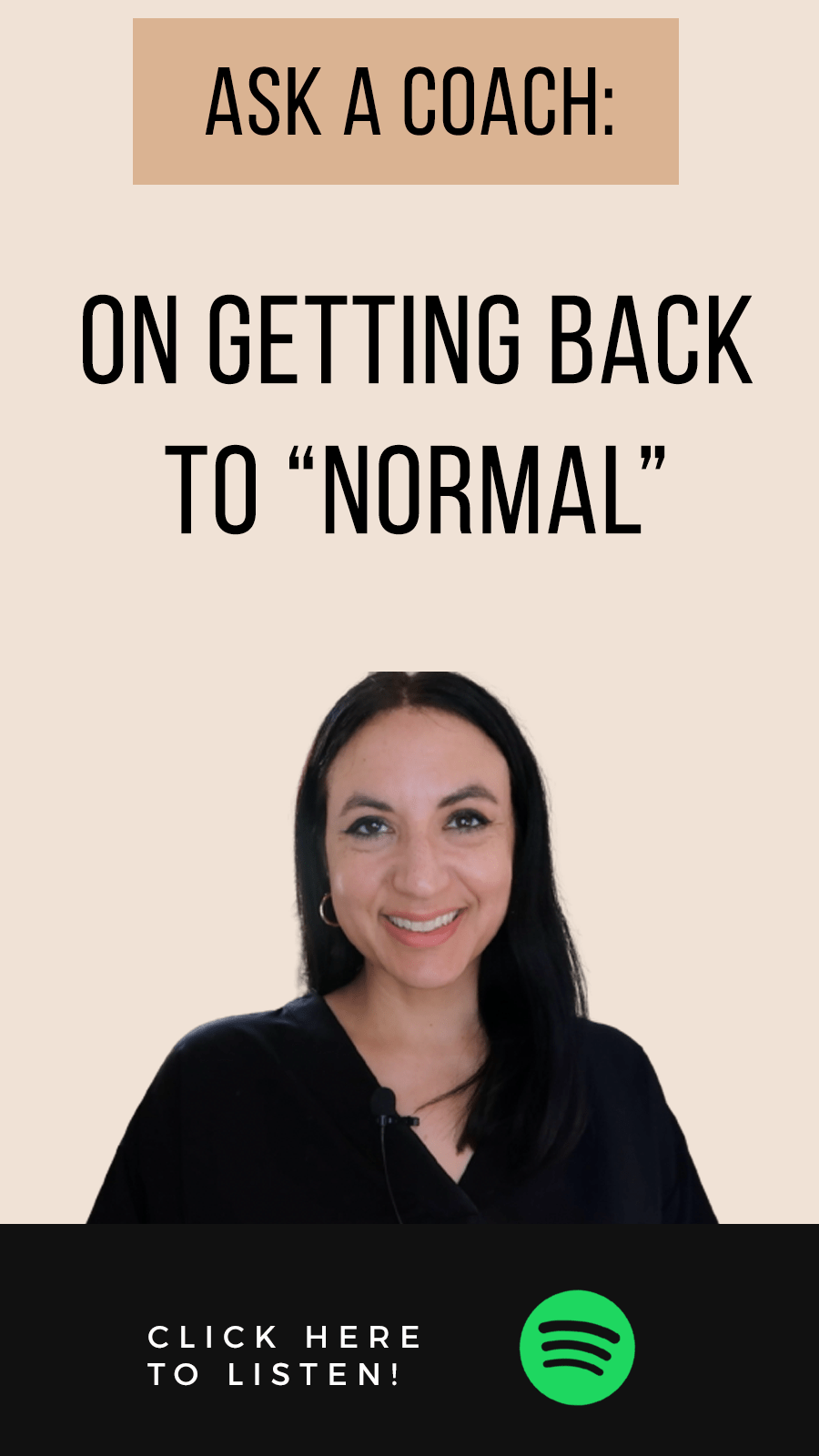 Jenn Stevens with text: Episode #53: On Getting Back To Normal